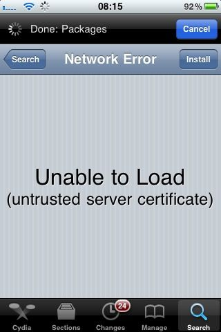 Cydia Untrusted Server Certificate