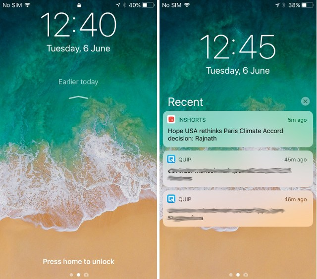 iOS 11 Notifications Lockscreen